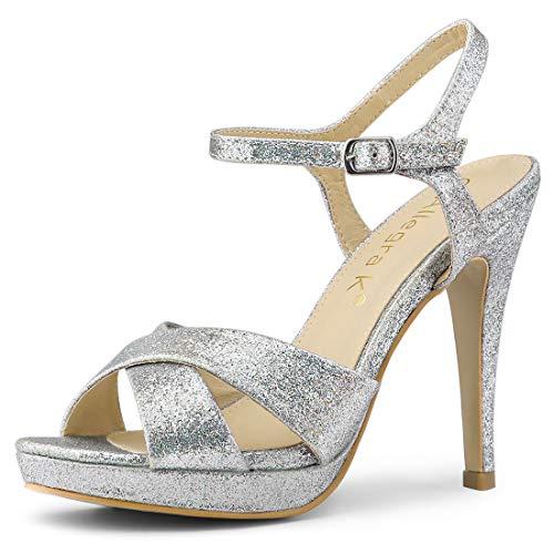 Allegra K Damen Peep Toe Stiletto Plateu Slingback Glitzer High Heels Sandalen Silber 41 EU