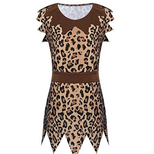 Agoky Disfraz de Cavernícola para Niñas Disfraz de Fiesta Carnaval Hallowen Traje Vestido Marrón Cosplay con Cinturón para Infantil