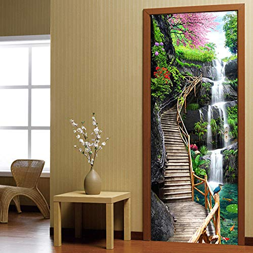 YXYSHX Türaufkleber 3Dmountain Running Water Ladder 3D Creative Environmental Protection Waterproof Self-Adhesive Paper Decoration Bedroom Living Room Wall Stickers Door Stickers
