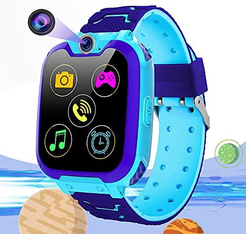 Vannico Smartwatch Niños, Reloj Inteligente Niño Teléfono SOS 16 Juegos Cámara Despertador Calculadora Album de Fotos, Regalos para Niños y Niñas Game Watch de 3 a 12 Años (Azul)