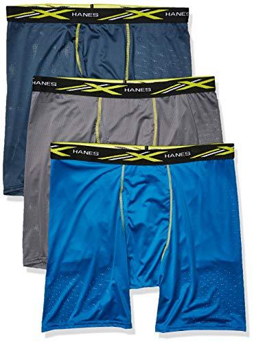 Hanes Men's X-Temp 4-Way Stretch Mesh Long Leg Boxer Brief 3-Pack, Assorted, 2X Large