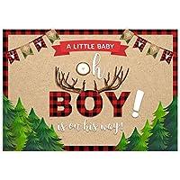 Allenjoy 7x5フィート 木材ジャックテーマ背景用品 Oh A Little Baby is On His Way Wild One Boy 1st First 赤 黒 バッファロー格子柄 誕生日パーティー ベビーシャワー デコレーション 写真撮影用小道具 背景