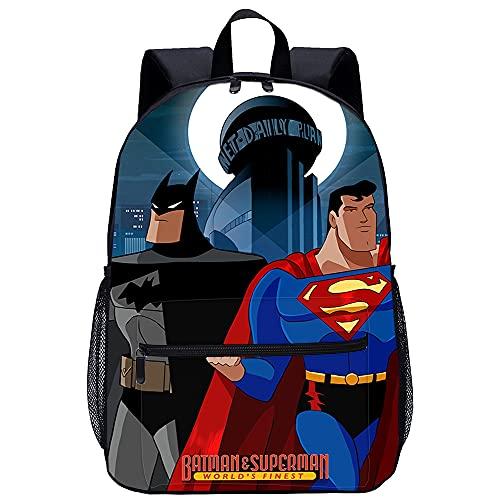 Pxiaohong 3D Gedruckter Rucksack The Batman Superman Movie World'S Finest Everyday Rucksack Umhängetasche Schultasche Junge Mädchen Große Reise Laptop Umhängetasche