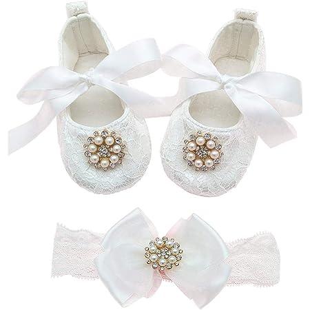 Baby Girl Pink Christening Baptism Wedding Shoes Ruinestone Pink Roses  Headband Set