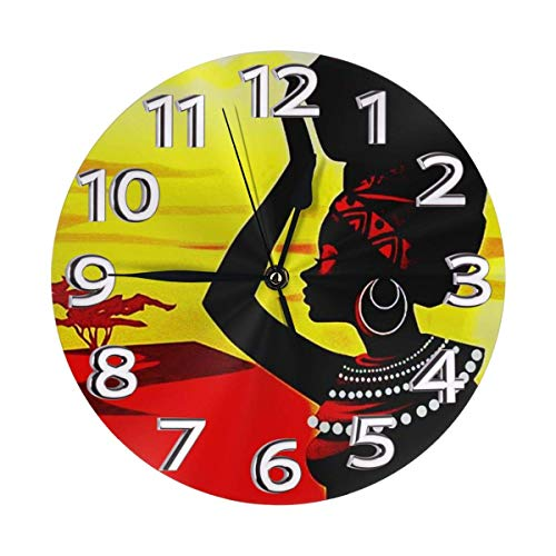 Kncsru Hermoso Reloj de Pared Redondo artístico para Mujeres africanas, silencioso, sin tictac, con Pilas, Reloj Decorativo para el hogar, Arte