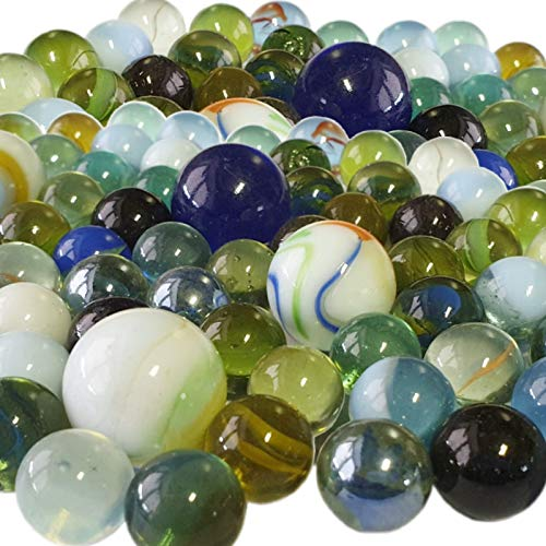 80 Stück Murmeln aus Glas bunt gemischt Glasmurmeln im Netz Knicker Glaskugeln Klicker große und kleine Glas-Murmeln zum Spielen und Sammeln Mitgebsel Kindergeburtstag