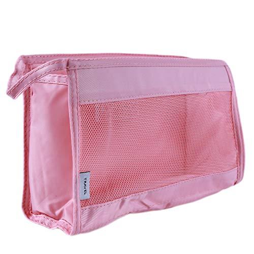 Sevenfly Creux Portable PU en Cuir Lunettes Sac Conteneur Cosmétique Sac De Rangement Gadget Crayon Cas Bureau Finition Paquet, Rose
