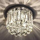 Gris K9 Crystal Chandelier for Bedroom, Modern Ceiling Light, Flush Mount Ceiling Light, W9.8'' x H8.07'' Chandelier Lighting Fixture for Bedroom, Hallway, 3 Lights(Bulbs not Included)