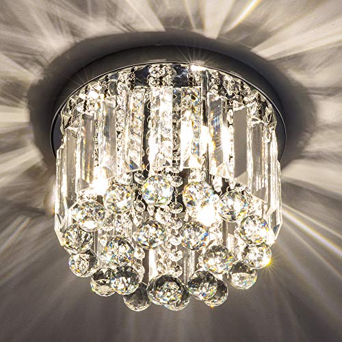 Crystal Chandelier Lights, Crystal Ceiling Light with Crystal Droplets, Elegant Flush Mount Ceiling Lighting for Bedroom, Living Room, Hallway. (3 Lights)