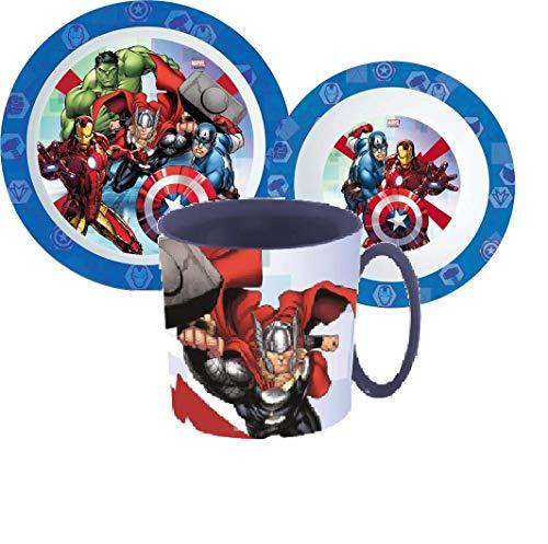 Little Flight Avengers Marvel - Juego de comida escolar de plástico reutilizable rígido para microondas Avengers (1 plato, 1 taza, 1 cuenco)