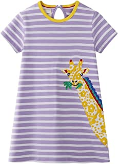 Summer Girl Dress Western Style Children's Wear Cotton Print Girl Frocks (Giraffe,3 Years)