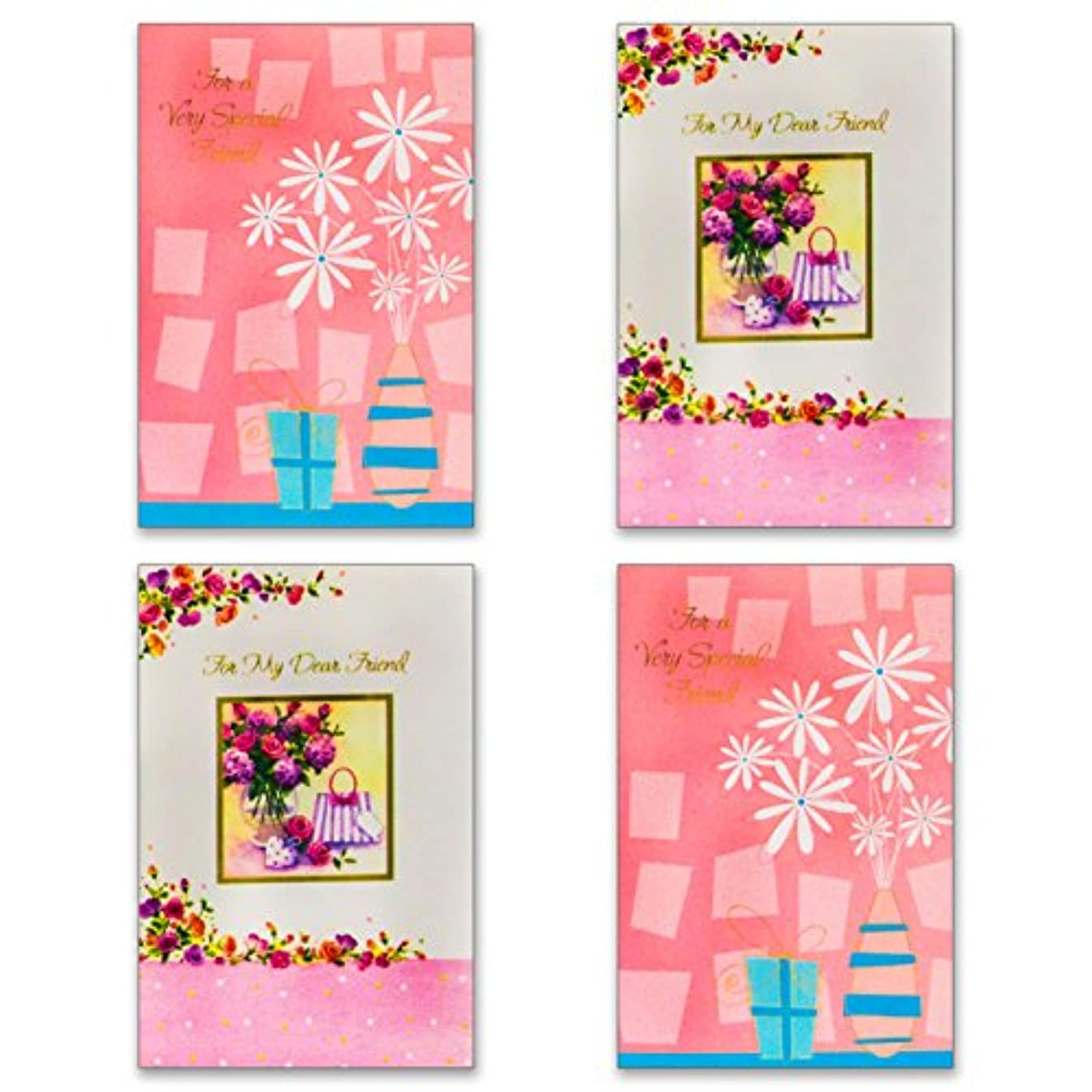 12 Friendship Cards with Envelopes - Boxed Enclosure Cards 4 Different Designs. Fantus Paper 5050-FR1