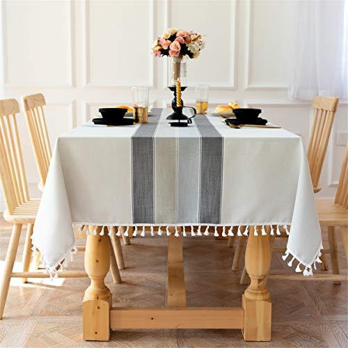 スクエアラウンドテーブルコットンリネン用テーブルクロス刺繍ステッチタッセルテーブルカバー用家の装飾パーティー結婚式屋外グレー 140x140CM
