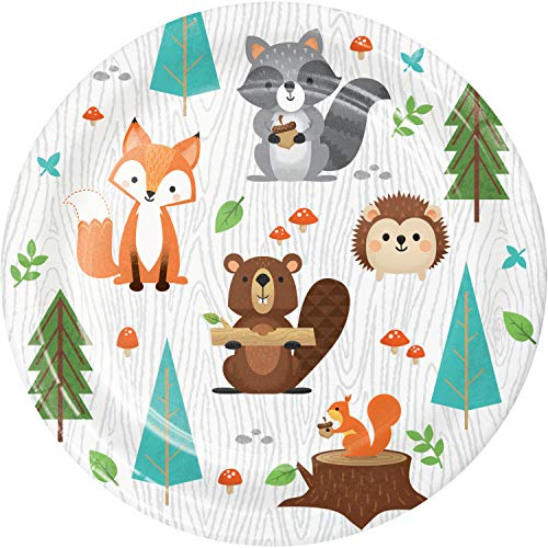Creative Party PC343950 Wild One Woodland Animals Lunch Paper Plates-8 Pcs