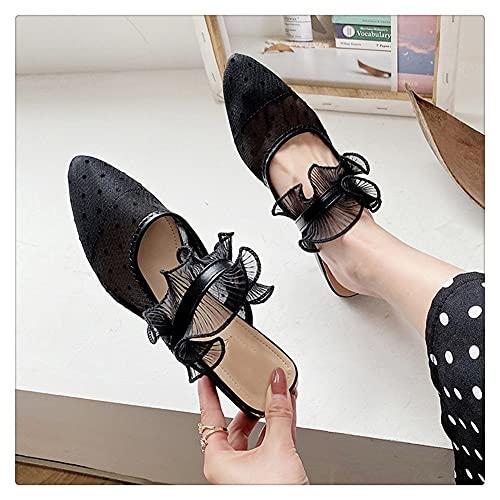 NJZYB Desgaste Exterior De La Zapatilla Mujer Verano Puntiagudo Boca Baja Zapatillas De Ocio Perezosas Planas Zapatillas De Hilo De Red (Color : Black, Size : 39)