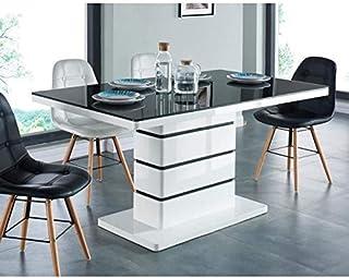 BAÏTA LUCIANOIRBLANC Table à Manger, Verre, Noir, L150cm