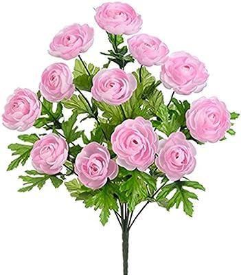 "10.5/"" Silk Mini Ranunculus Flower Bush Pink//Ivory pack of 12"