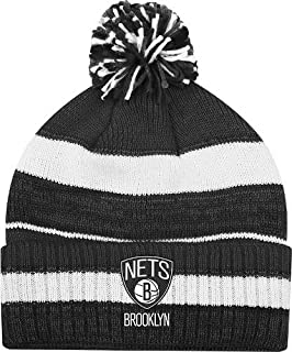adidas Brooklyn Nets Striped Knit Cuffed Pom Knit Cap/Beanie