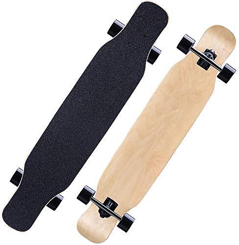 Longboard 118CM Pro Skateboard, Cruiser Trick Skateboard, Komplettes kanadisches Ahornholz, Schwarzes Longboard für Anfänger Erwachsene Teens Mädchen Jungen Kinder (Ahorn)