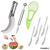 Kit per Intaglio Frutta Premium: Affetta Anguria in Acciaio Inossidabile, 2-in-1 Scavino Melone & Coltello da Frutta e Taglia Avocado - Bonus: 5 Forchette da Frutta in Acciaio Inossidabile