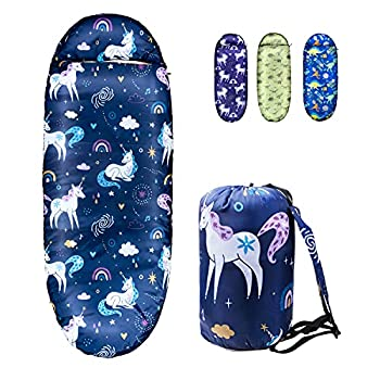 Kids Sleeping Bags for Girls – Unicorn Rainbow Space Navy – Rioyalo YOLO 45 Camping Sleeping Bags for Kids with Carry Bag - Outdoor and Indoor  Unicorn-NV
