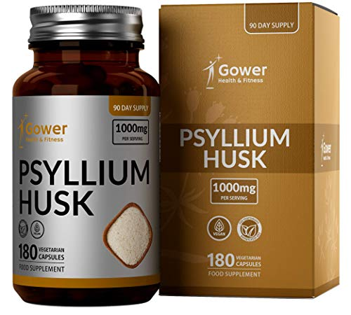 GH Psyllium Husk Supplement Capsules | High Fibre Tablets to Restore Gut Health & Aid Bowel Movement | Vegan, Gluten Free & Non - GMO | 180 Capsules, 90 Servings