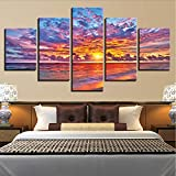 Wuwenw Modern Canvas Printed Painting Framework Home Wall Art Pictures 5 Pieces Sunset Glow Clouds Beach Waves Seascape Posters Decor,16X24/32/40Inch,Without Frame