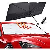 HENFORTO Car Windshield Sun Shade Umbrella Foldable Car Umbrella Sunshade Cover UV Block Car Front Window, Protect Vehicle from UV Sun and Heat,Windshield Sun Shade Easy to Use(53 x 31 in)