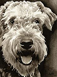 image of airedale dog watercolor sepia art print