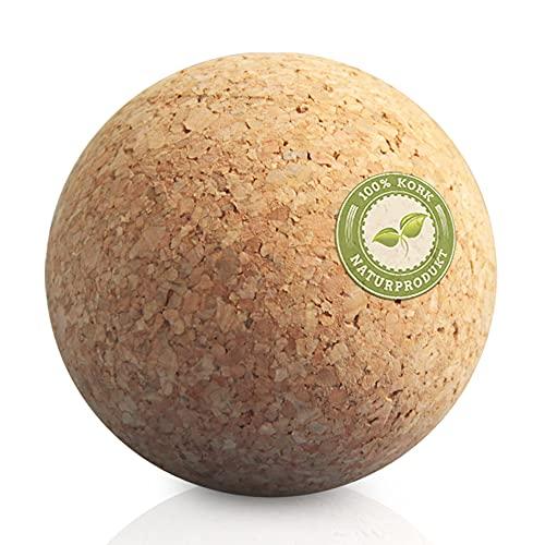 Massageball Natur Set 7 cm - Korkball, Faszienkugel für Trigger Zonen Faszienball (Triggerpunkt Faszientraining) Plantarfasziitis, Verspannungen Rücken, Schulter) - Verspannungen lösen - Fitnessball