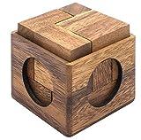SiamMandalay Cube Puzzle: Rompecabezas de Madera - Juegos de Rompecabezas - Juegos Educativos - Juegos de Lógica with Free SM Gift Box (Pictured)