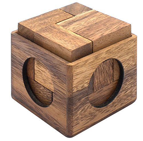 Cube Puzzle: Wooden Puzzle for Adults a Handmade 3D Brain Teaser Soma Cube from SiamMandalay