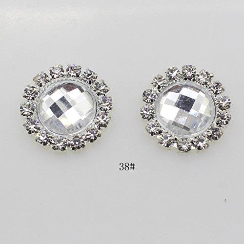 50 pcs/lot 18 mm rond Blanc Acrylique Décoration strass Bouton Flateback DIY Accessoires de mariage ruban