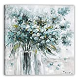 BLC-Oil Painting Prints on Wrapped Canvas, Wall Art Decoration for Office Living Room Bedroom- Abstract flowers (Green, 12x12)