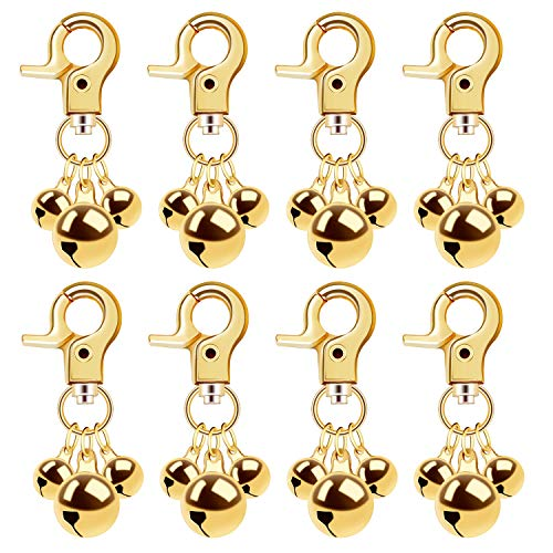 alful Pet Collar Bell, 8 Pcs Dog Cat Loud Charm Triple Bells with Key Ring for Potty Training, Decoration (Gold)