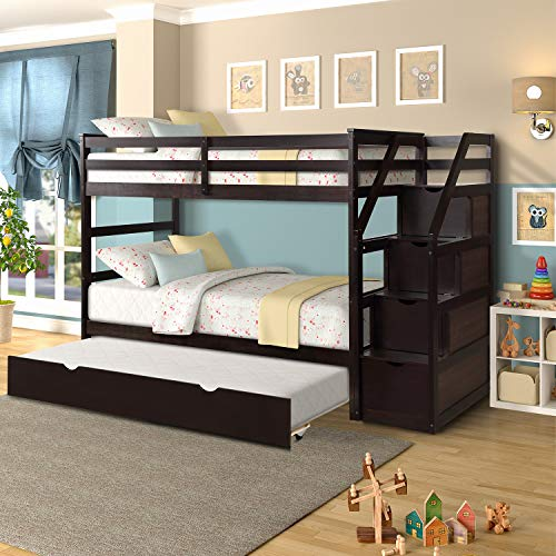Merax Solid Wood Twin-Over-Twin Bunk Bed, Trundle Bunk Bed with 3 Storage Drawers, Staircase and Safety Guard Rail for Boys, Girls, Teens and Adults (Espresso)