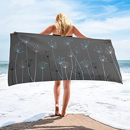 BENBEN Patrón de Planta con Toallas de Playa Ligeras, artículos para el hogar, Accesorios de baño, Toallas de baño de Microfibra, colchonetas de Playa, colchonetas de Yoga 70x140cm Gris