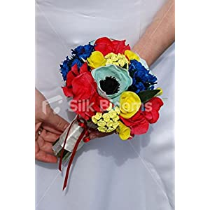 Blue Yellow & Red Bridesmaid Bouquet w/ Roses Anemones Hydrangea