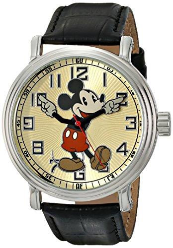 Disney by Ewatchfactory 56109 - Reloj analógico para Hombre, Correa de Cuero Color Negro