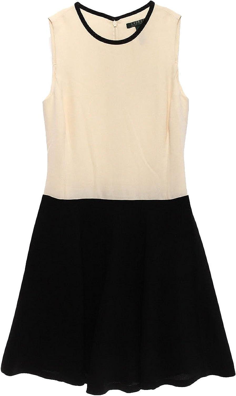 Ralph Lauren Lauren Petite colorblock Crepe Fit & Flare Dress, White Black, 6P