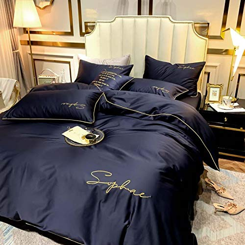 Four Sets of Soft and Comfortable Long-Staple Cotton, Simple Embroidery Design, Smooth Bedding, 200 * 230CM, Bentley blueTHANGY
