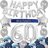JOYMEMO Decorazioni per Il sessantesimo Compleanno Blue for Men Buon Compleanno Palloncino Banner Numero 60 Palloncini Fascia per Forniture per Feste di 60 Anni