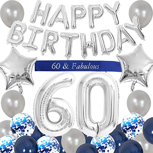 60. Geburtstag Dekorationen blau für Männer alles Gute zum Geburtstag Ballon Banner Nummer 60 Luftballons Schärpe für 60 Jahre alt Party Supplies