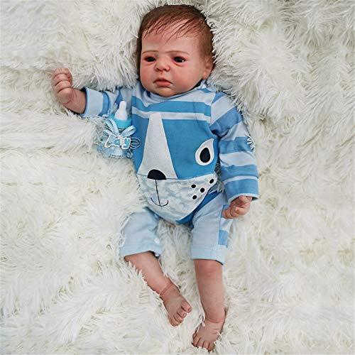 HWZZ Muñeca renacida 22'Adorable, Realista, Suave, Silicona, muñeca de Vinilo bebé bebé con Ropa Adecuada para los niños Juguetes de baño.