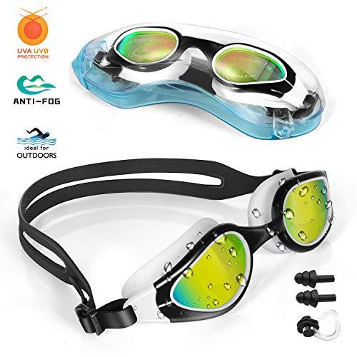 TOPLUS Schwimmbrille Schwimmmaske mit Nasenklammern, Ohrstöpsel, Weiche Silikon Antibeschlag 100% UV Schutz für Erwachsene Herren Damen Jugend und Kinder-Gold- Linsen