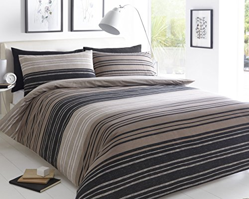 Sleepdown Brown Textured Stripe King Size Duvet Cover Set. Easy Care And Super Soft Cotton Design. Trendy Striped Pattern Quilt. Double Size 220x230 cm + 2 Matching Pillowcase.