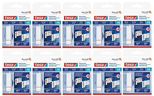 60 tiras adhesivas Tesa para fijar en azulejos y metal, 3 kg de potencia de sujeción (3 kg, juego de 10 unidades)