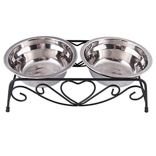 Futternapf für Katzen und Hunde, Edelstahl Hundenapf Napfständer Hundebar mit 2 Näpfen und Ständer für Hund Katze, mit Anti-Rutsch-Gumminoppen, 13,5 cm, Silber