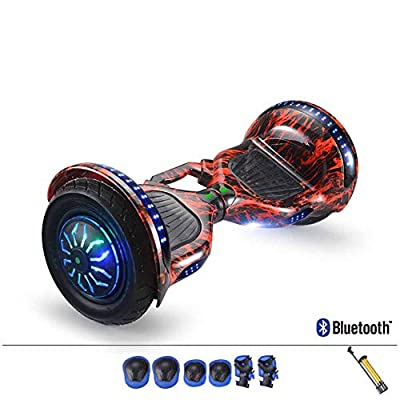 """CBPE 10"""" Latest Model Electric Hoverboard Dual Motors Two Wheels Smart Self Balancing Scooter with Built in Speaker LED Lights for Gift, Free Six-Piece Protective Gear Set"""
