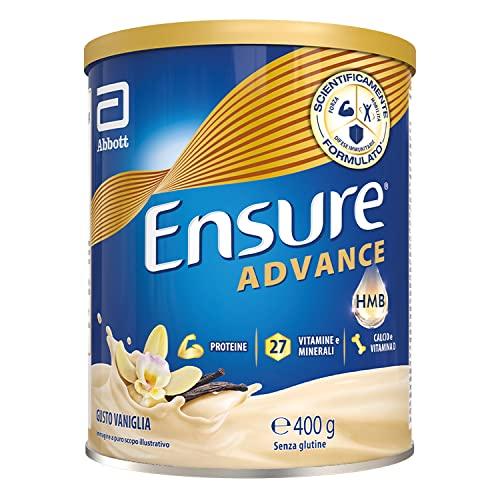 Ensure Advance Formula Nutrivigor Integratore in Polvere, Multivitaminico con 27 Vitamine e Minerali, Integratore Alimentare con Proteine, Calcio e Hmb, Confezione 400g, Gusto Vaniglia